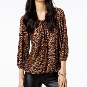 MICHAEL Michael Kors Brown Leopard Print Top